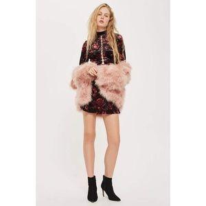 TOPSHOP Velvet Floral Backless Mini Dress 2